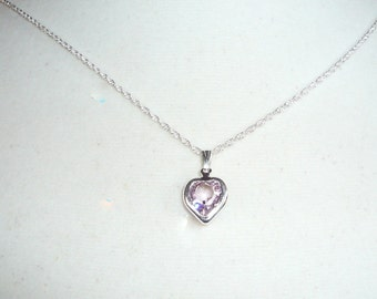 Tiny Heart Necklace, June birthstone, alexandrite Swarovski crystal