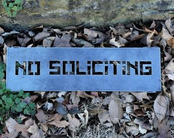 18 inch NO SOLICITING Sign - Front Porch Sign - Front Door Sign- Business Sign