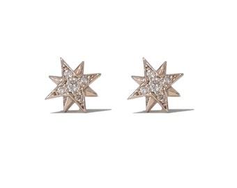 Pavé Diamond Starburst Polaris Star 14K Solid Gold Stud Earrings {Mother's Day Gift Ideas} (Single or Pair ~ Push or Screw Back Backing)