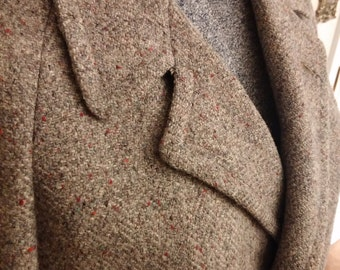 Vintage, Retro, 1950s, Harris Tweed, Scotland, Handwoven, Wool, Gray, Tan, Red, Aqua, Long, Men's Coat, Size 42