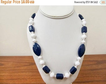 On Sale Vintage Navy Blue and White Plastic Beaded Necklace Item K # 237