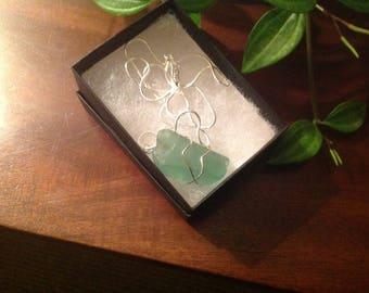 Sea Glass pendant and Silver Chain