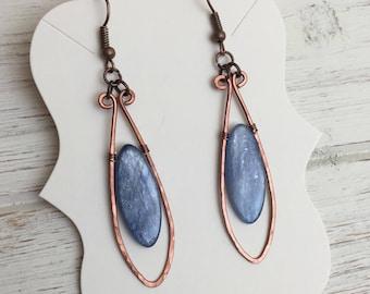 Blue Kyanite Earrings / Hammered Copper