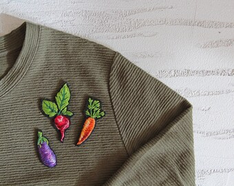 Felted Vegetable Brooch for Grandmother Birthday Gift For Mom Felted Brooch Embroidered Vegetable Pin Hand Embroidered Brooch For Vegan Pin