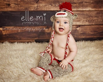 Sock Monkey Photo Prop, Sock Monkey Outfit, Baby Hat and Diaper Cover Set, Baby Sock Monkey Hat, Monkey Hat, Newborn Monkey Hat