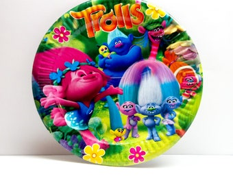 Trolls paper plate. Paper plates 10 pcs. Set for children's holiday, party or birthday. Trolls party. Poppy plates.