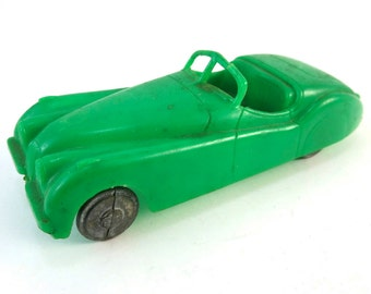 Vintage 1950s Green Plastic Jaguar XK120 Roadster Car Toy Made In U.S.A. XK 120 Convertible Matchbox
