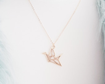 Gold Origami Crane Necklace | Paper Cut-out Crane | Gift | Boho Jewelry | SALE