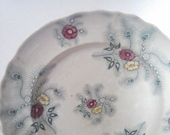 "Antique Dinner Plates, Set of 2 ""Feather"" Plates by Walker and Carter. Ironstone Transferware, RARE, Circa 1866-1889"