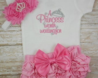 Baby girl coming home outfit, baby girl clothes, baby girl outfit, newborn girl take home outfit, A Princess Worth Waiting For, baby girl