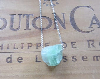 Raw Stone Green Fluorite Natural Nugget Bead Necklace