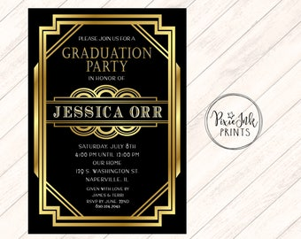 Graduation Party Invitation, Black & Gold Graduation Invitation, Gold Grad Invite, Class of 2017 Graduation Invitation, Graduation Printable