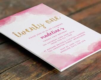 Watercolour Pink Gold 21st Birthday Invitation A6 (Digital File - Printable PDF)