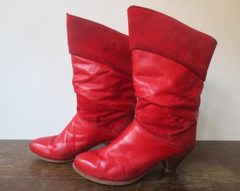 Vintage '70s Cherry Red Leather & Suede Zodiac Stack Heel Slouch Boots, US Size 7