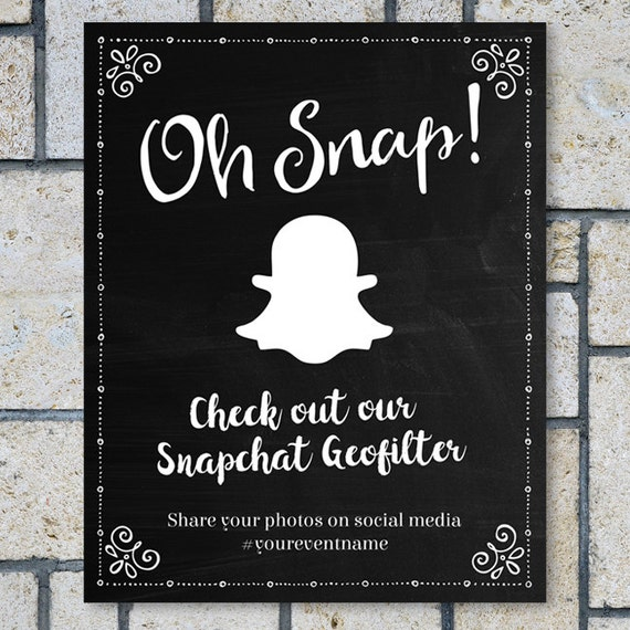 Printable Chalkboard Geofilter Social Media Event Wedding Sign - Custom vinyl decal application instructions pdfapplication etsy