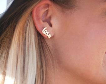 Gold 'Love' Stud Earrings