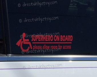 Superhero On Board Wheelchair Access Window Decal (you choose color)