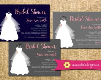 Printable Bridal Invitation - wedding gown modern fun formal floral any color bride shower luncheon brunch