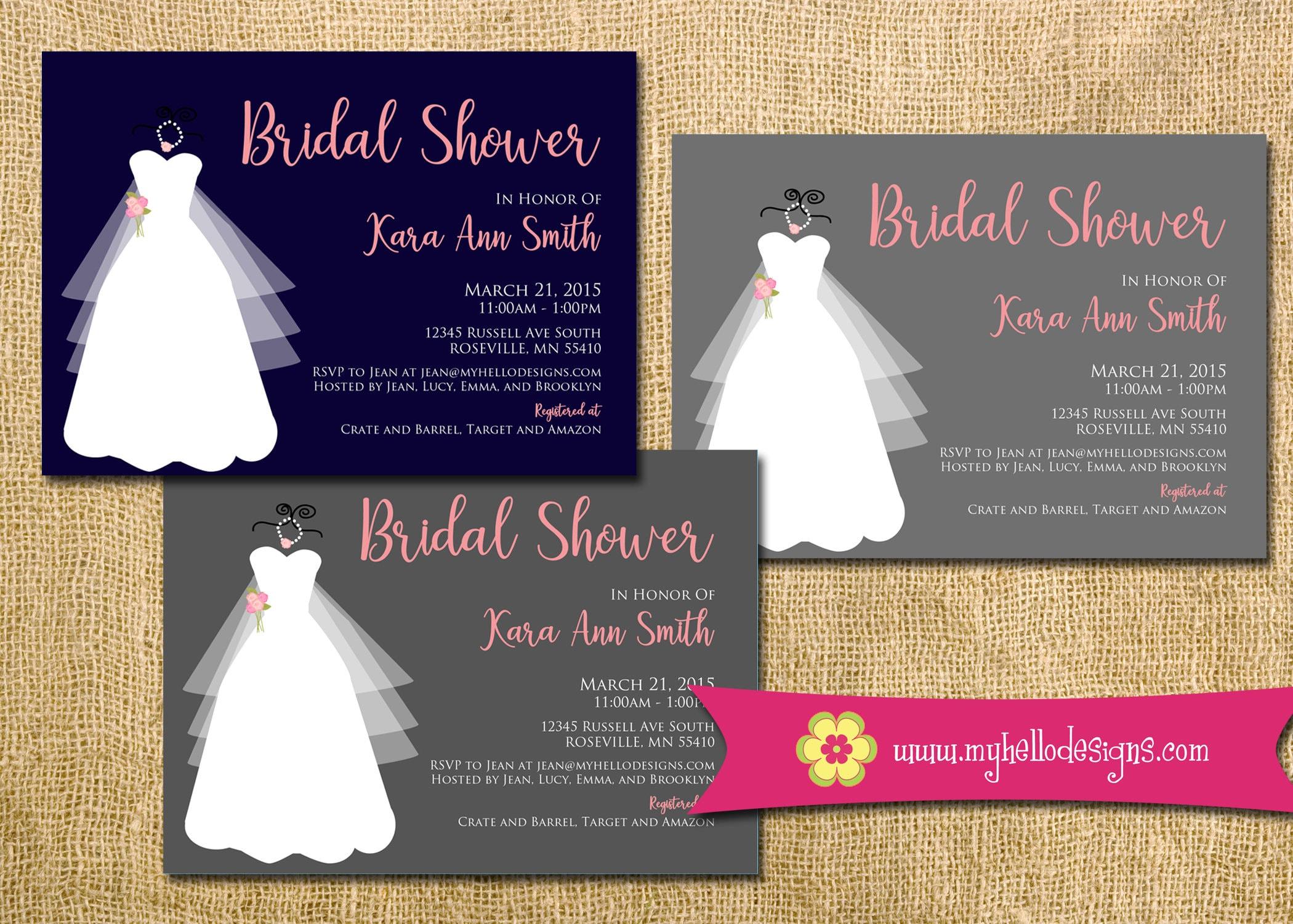 Printable Bridal Invitation wedding gown modern fun formal