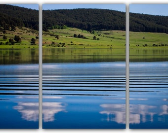 Photo on triptych canvas, ready to hang canvas, Nature Photography, wall art. Parallel lines over the water surface far in the mountain.