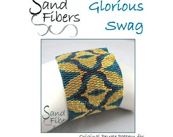 Peyote Pattern - Glorious Swag Peyote Cuff / Bracelet  - A Sand Fibers For Personal/Commercial Use PDF Pattern