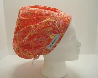 Super Orange Bouffant Scrub Hat, OR scurb cap, nurse cap, surgical tech hat