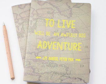 World map journal etsy big adventure notebook a5 handmade journal stationery world map gift peter pan quote notepad map journal gumiabroncs Choice Image