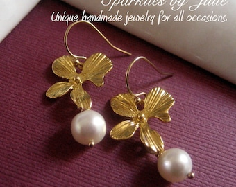 Gold Orchid Pearl Earrings - Gold plated Orchid with freshwater round pearls dangles, Elegant everyday wear, Brides, Bridesmaids, etc.