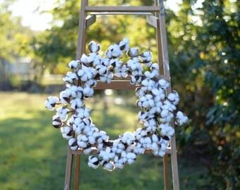 """Cotton Wreath Cotton Boll Wreath Cotton Wreath Cotton Wreath 22"""" Farmhouse Cotton Wreaths Fixer Upper medium wreath"""
