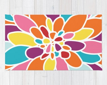 Flower Area Rug - Abstract Flower Rug - Orange Pink Yellow Turquoise Purple Area Rug -  Nursery Rug - Modern Home Decor - Bright Colors