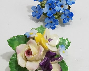 Pair of Beautiful Ceramic Floral Brooches from England