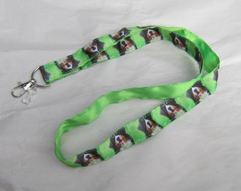 BERNESE MOUNTAIN DOG Lanyard/Keychain/Badge Holder Grosgrain & Satin Ribbon w/Metal Charm...Handmade
