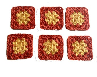 Granny Square Coasters, Crocheted Fall Coasters, Autumn Coasters