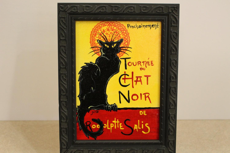 Chat Noir schwarze Katze Gemälde von Vintage Französisch