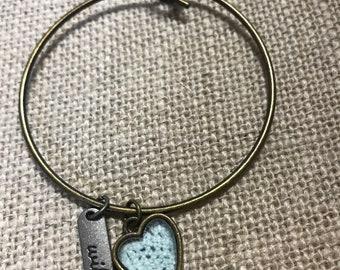 Fashion Bangle With Wife & Blue Heart Charm