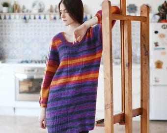 Knit sweater boho sweater boho chic sweater long sweater loose knit sweater bohemian sweater wool sweater mohair pullover jumper women oran