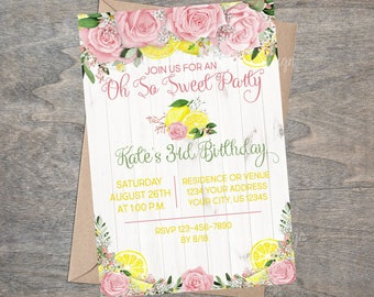 Pink Lemonade Birthday Invitation | Watercolor Floral Roses Garden Tea Party Shabby White Wood Pink and Yellow Lemons