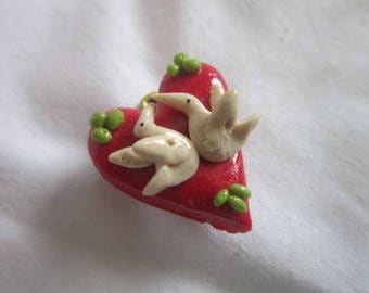 Vintage Two Doves Heart Pin Brooch