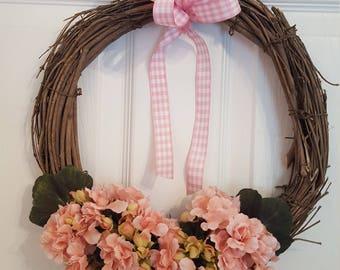 Geranium wreath, Summer wreath, Spring wreath, Floral wreath, Flower wreath, Mother's Day