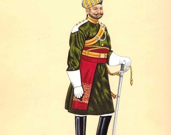 Indian Miniature Painting Sikh Regiment Military Officer Soldier in uniform Watercolor on paper