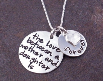 Mother Daughter Necklace/ The Love Between A Mother & Daughter is Forever/ Mothers Day/ Mom Necklace/ Gift for Mom