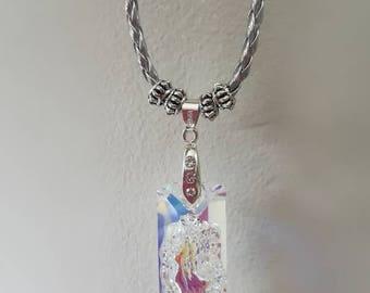 Swarovski crystal pendant on silver cord
