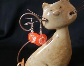 orange button earrings