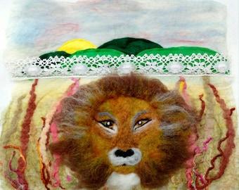 Lion scape , lion fiber art, landscape art  lion wool painting