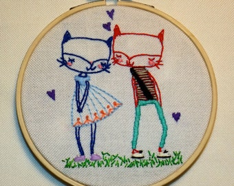 Lovely Cats. Embroidery Hoop