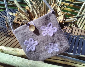 Grey/lilac gray felted wool shoulder bag with water