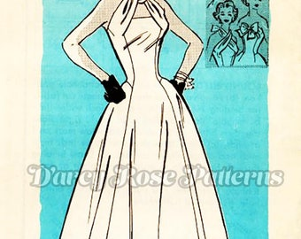 Mail Order 4899 Vintage 1950s Mail Order Change About Infinity Neckline Halter Dress Sewing Pattern