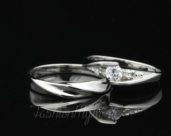 Free Engraving,Couples Ring Set,5mm Diamond Ring For Women,Sterling Silver Ring,Interweave Ring,Wedding Ring Set,His And Her Promise rings
