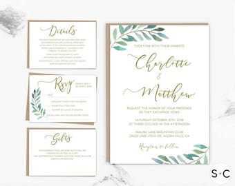 Greenery + Gold Wedding Invitation Template Set | Garden Wedding Invitation | Green Wedding Leafy| Printable Wedding Invitation |