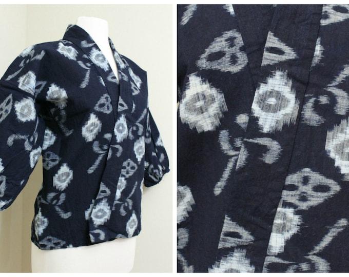 IKAT Haori Jacket. Vintage Japanese Indigo Kasuri Cotton Folk Noragi Peasant Clothing (Ref: 1162)